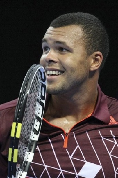 Jo Wilfried Tsonga reacts during his match against Alexandr Dolgopolov during the semifinal match of the ATP Open de Moselle tournament in Metz